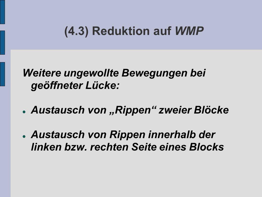 """(4.3) Reduktion auf WMP Weitere ungewollte Bewegungen bei geöffneter Lücke: Austausch von """"Rippen zweier Blöcke Austausch von Rippen innerhalb der linken bzw."""