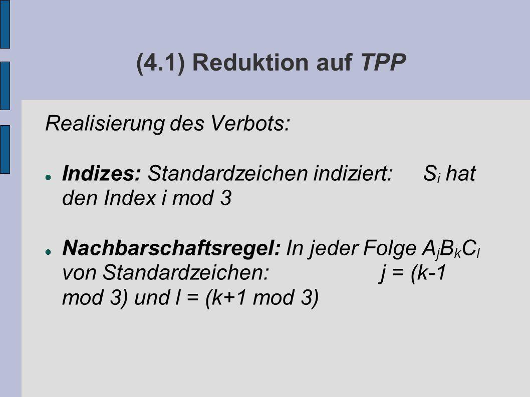 (4.1) Reduktion auf TPP Realisierung des Verbots: Indizes: Standardzeichen indiziert: S i hat den Index i mod 3 Nachbarschaftsregel: In jeder Folge A j B k C l von Standardzeichen: j = (k-1 mod 3) und l = (k+1 mod 3)