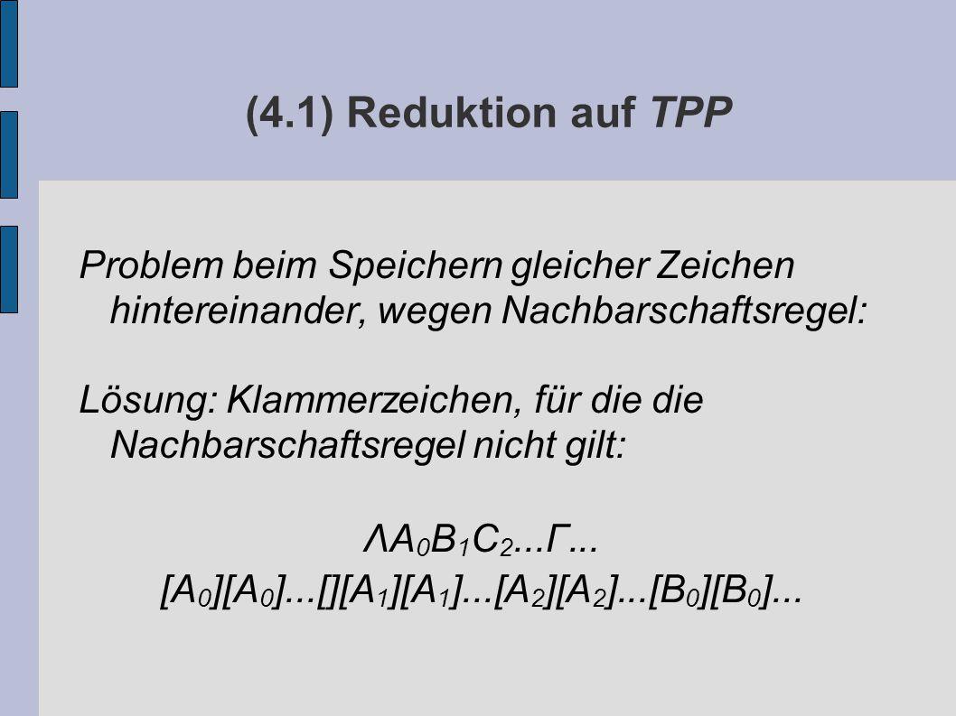(4.1) Reduktion auf TPP Problem beim Speichern gleicher Zeichen hintereinander, wegen Nachbarschaftsregel: Lösung: Klammerzeichen, für die die Nachbarschaftsregel nicht gilt: ΛA 0 B 1 C 2...Γ...