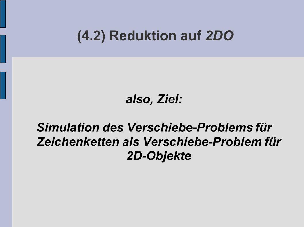 (4.2) Reduktion auf 2DO also, Ziel: Simulation des Verschiebe-Problems für Zeichenketten als Verschiebe-Problem für 2D-Objekte