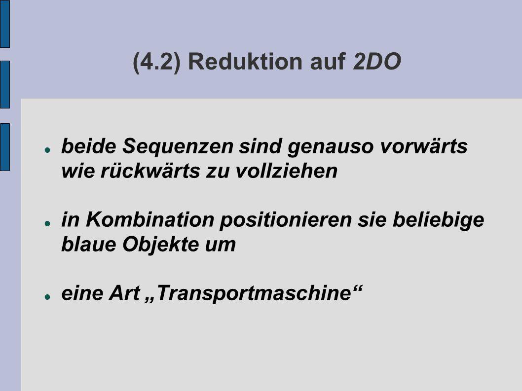 """(4.2) Reduktion auf 2DO beide Sequenzen sind genauso vorwärts wie rückwärts zu vollziehen in Kombination positionieren sie beliebige blaue Objekte um eine Art """"Transportmaschine"""