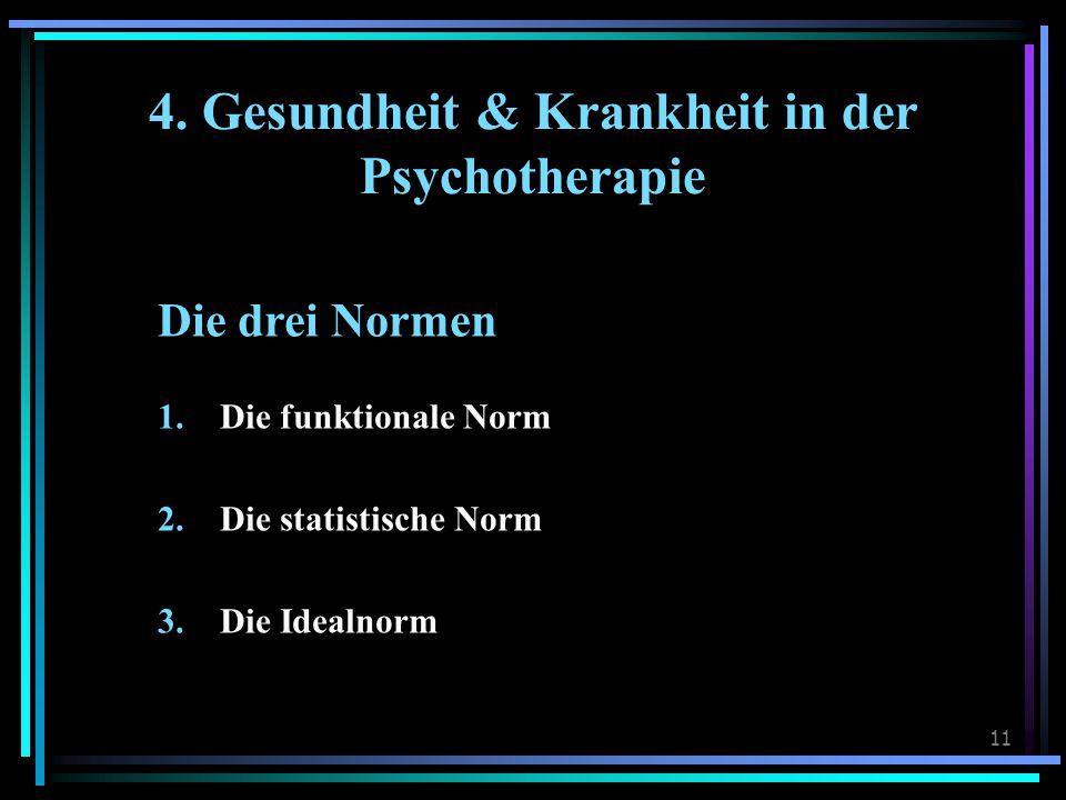 11 4. Gesundheit & Krankheit in der Psychotherapie Die drei Normen 1.Die funktionale Norm 2.Die statistische Norm 3.Die Idealnorm