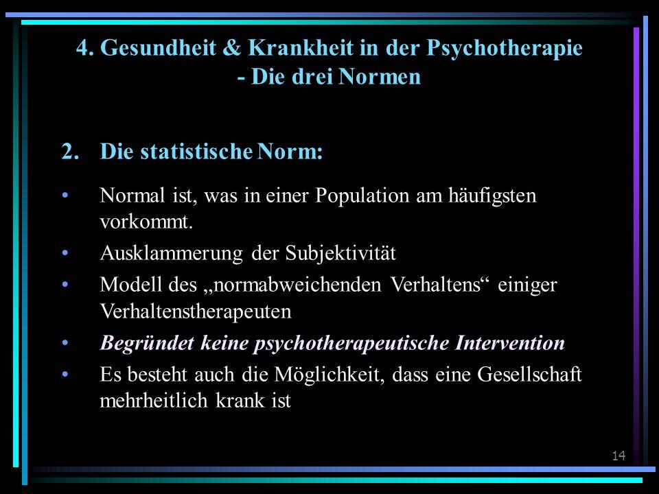 14 2.Die statistische Norm: Normal ist, was in einer Population am häufigsten vorkommt.