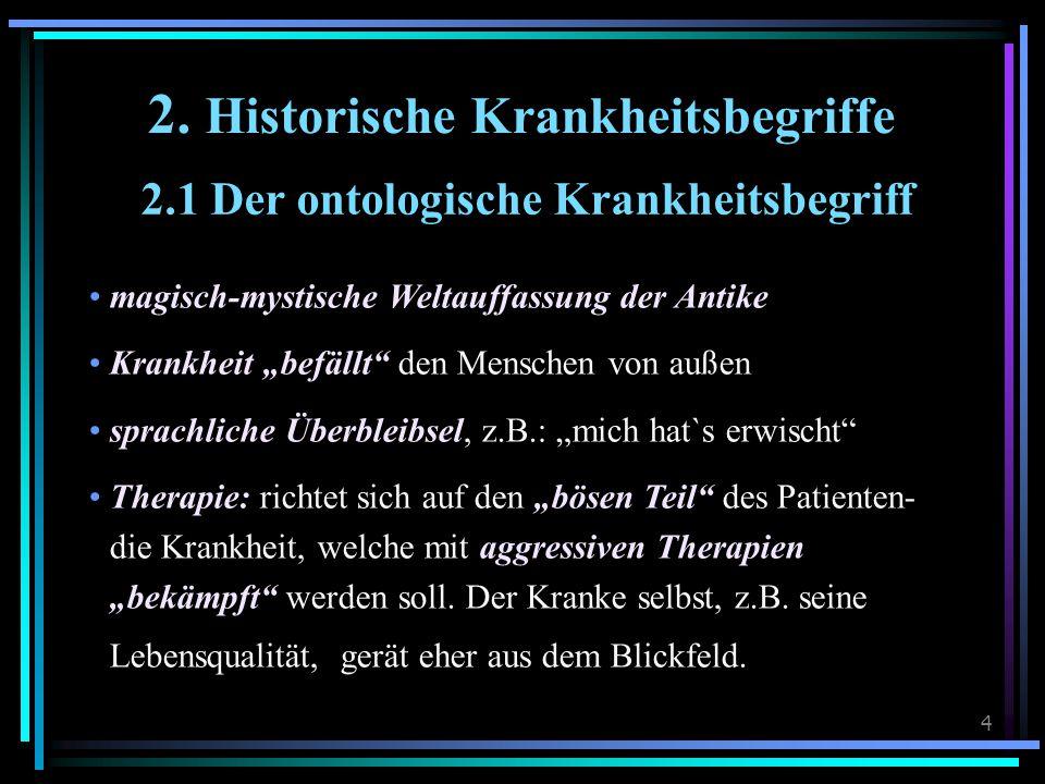 """4 2. Historische Krankheitsbegriffe 2.1 Der ontologische Krankheitsbegriff magisch-mystische Weltauffassung der Antike Krankheit """"befällt"""" den Mensche"""