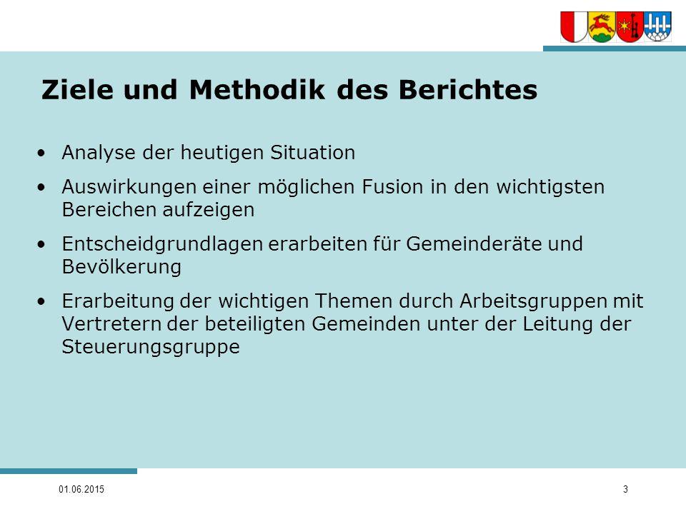 01.06.20153 Ziele und Methodik des Berichtes Analyse der heutigen Situation Auswirkungen einer möglichen Fusion in den wichtigsten Bereichen aufzeigen