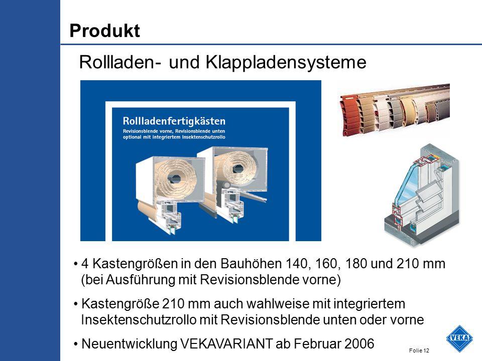 Folie 12 Rollladen- und Klappladensysteme 4 Kastengrößen in den Bauhöhen 140, 160, 180 und 210 mm (bei Ausführung mit Revisionsblende vorne) Kastengrö