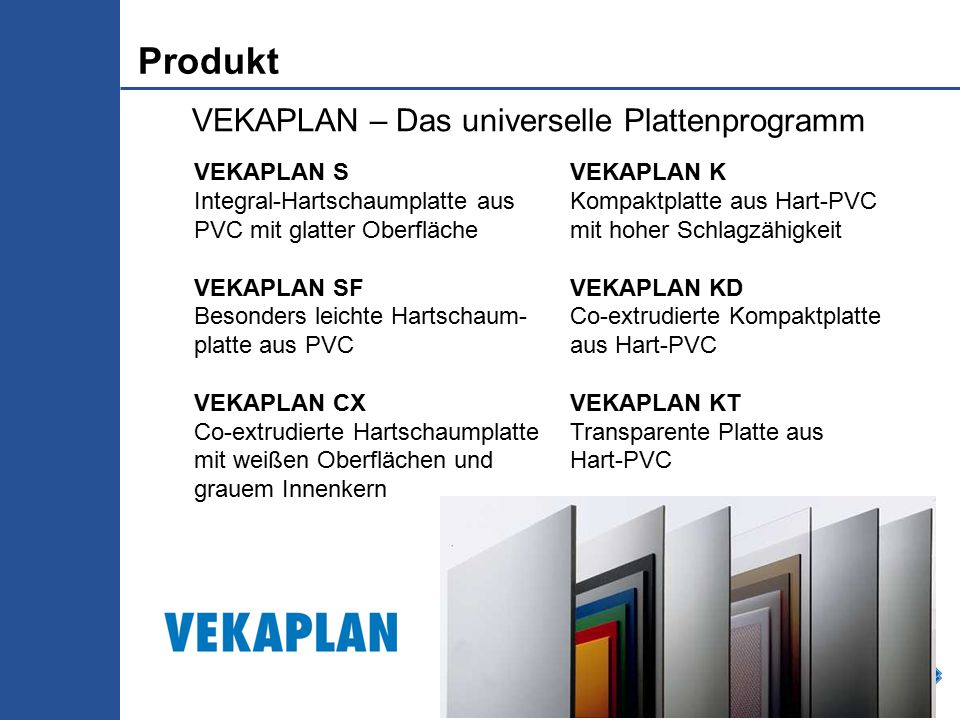 Folie 13 VEKAPLAN – Das universelle Plattenprogramm VEKAPLAN S Integral-Hartschaumplatte aus PVC mit glatter Oberfläche VEKAPLAN SF Besonders leichte