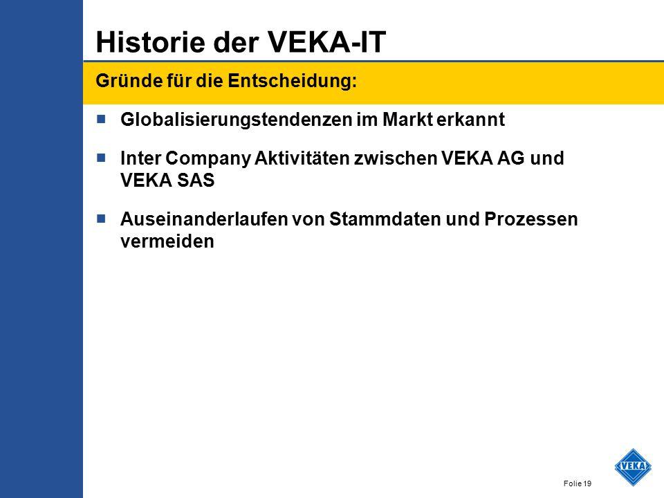 Folie 19 Historie der VEKA-IT Gründe für die Entscheidung: ■ Globalisierungstendenzen im Markt erkannt ■ Inter Company Aktivitäten zwischen VEKA AG und VEKA SAS ■ Auseinanderlaufen von Stammdaten und Prozessen vermeiden