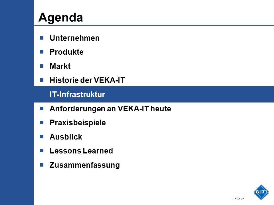 Folie 22 Agenda ■ Unternehmen ■ Produkte ■ Markt ■ Historie der VEKA-IT ■ IT-Infrastruktur ■ Anforderungen an VEKA-IT heute ■ Praxisbeispiele ■ Ausblick ■ Lessons Learned ■ Zusammenfassung
