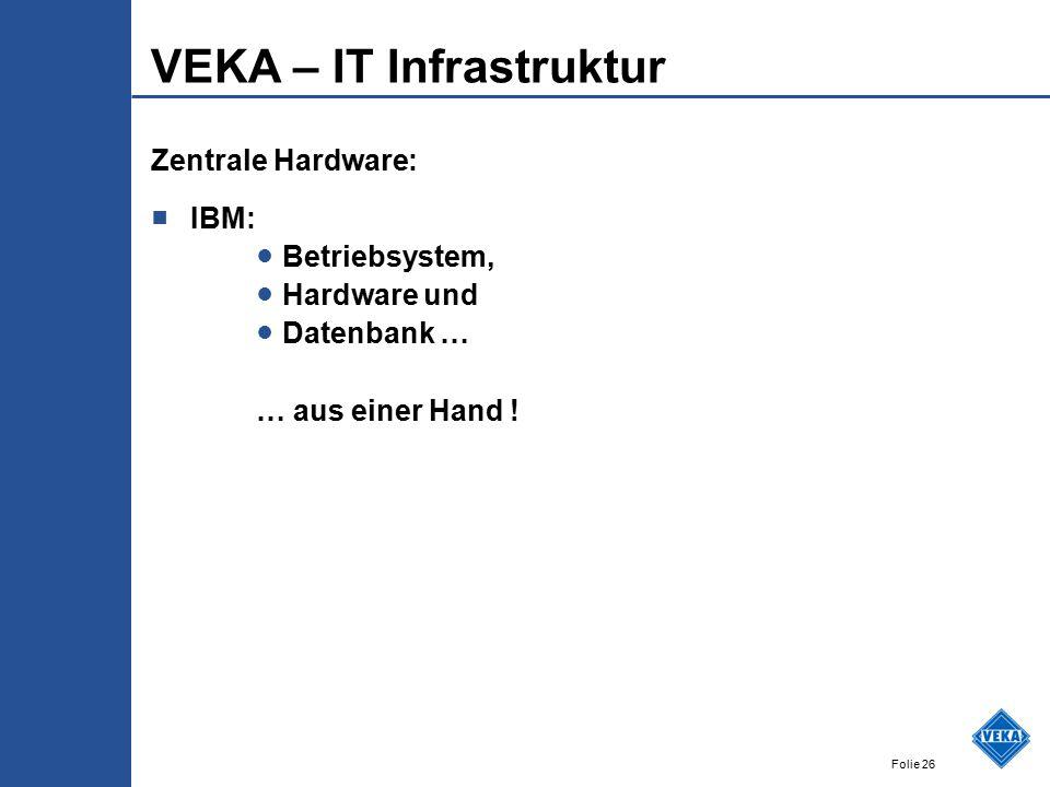 Folie 26 VEKA – IT Infrastruktur Zentrale Hardware: ■ IBM: ● Betriebsystem, ● Hardware und ● Datenbank … … aus einer Hand !