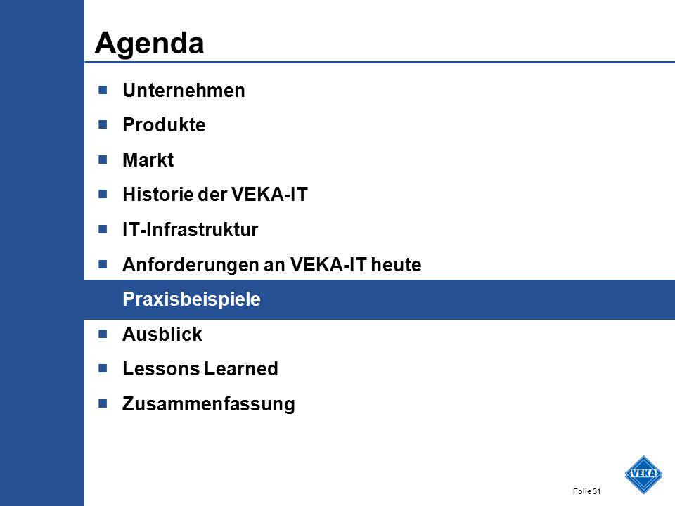 Folie 31 Agenda ■ Unternehmen ■ Produkte ■ Markt ■ Historie der VEKA-IT ■ IT-Infrastruktur ■ Anforderungen an VEKA-IT heute ■ Praxisbeispiele ■ Ausblick ■ Lessons Learned ■ Zusammenfassung