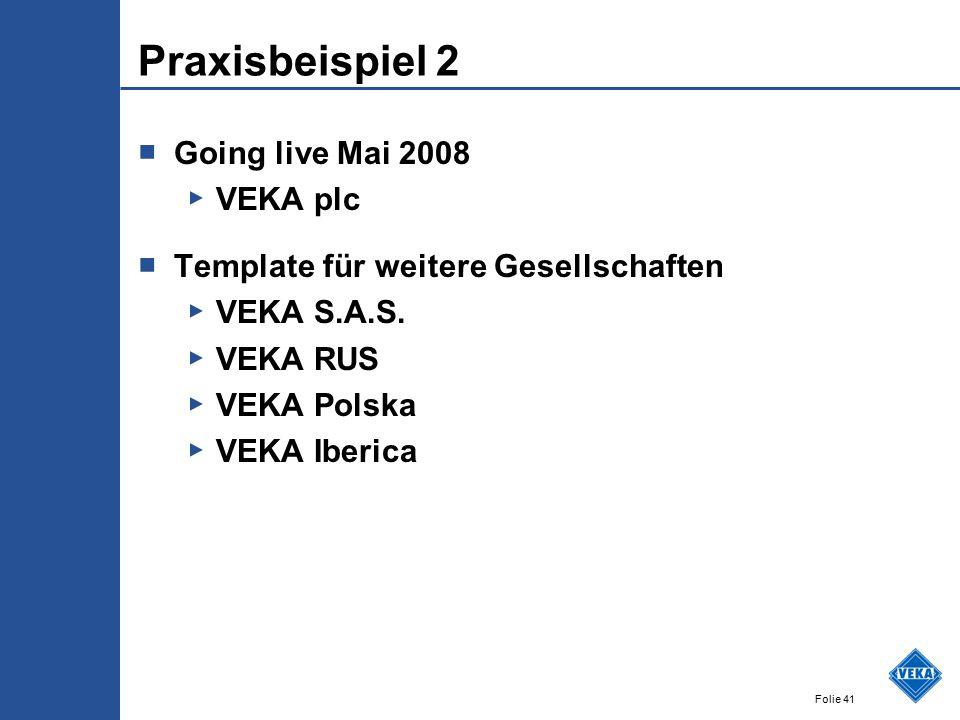 Folie 41 Praxisbeispiel 2 ■ Going live Mai 2008 ▶ VEKA plc ■ Template für weitere Gesellschaften ▶ VEKA S.A.S. ▶ VEKA RUS ▶ VEKA Polska ▶ VEKA Iberica