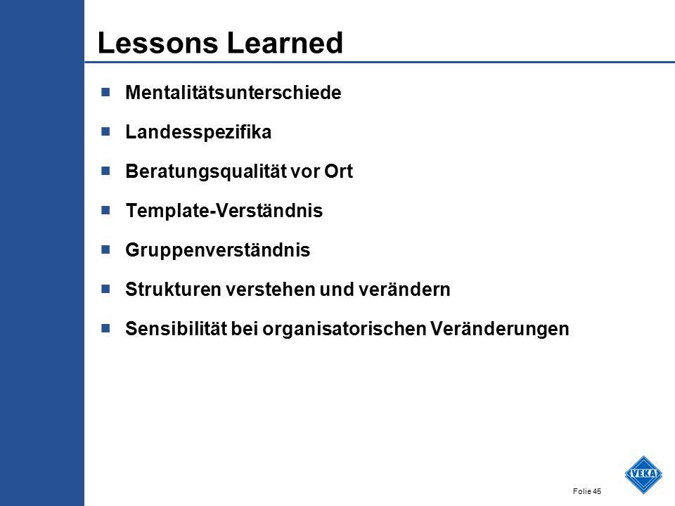 Folie 45 Lessons Learned ■ Mentalitätsunterschiede ■ Landesspezifika ■ Beratungsqualität vor Ort ■ Template-Verständnis ■ Gruppenverständnis ■ Struktu