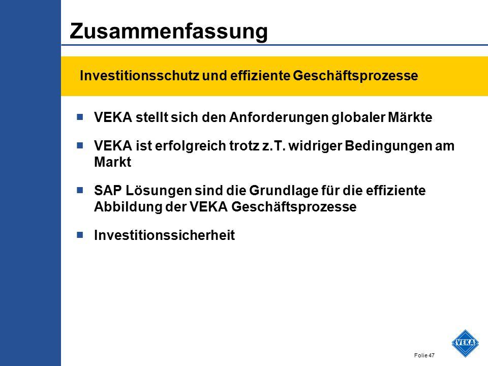 Folie 47 Zusammenfassung ■ VEKA stellt sich den Anforderungen globaler Märkte ■ VEKA ist erfolgreich trotz z.T. widriger Bedingungen am Markt ■ SAP Lö