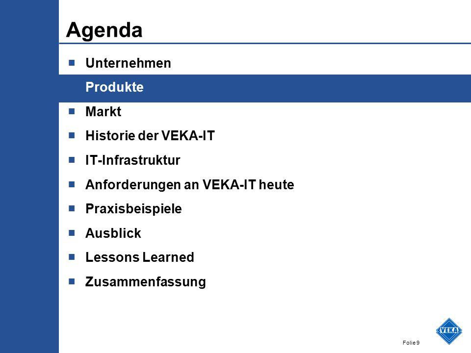 Folie 9 Agenda ■ Unternehmen ■ Produkte ■ Markt ■ Historie der VEKA-IT ■ IT-Infrastruktur ■ Anforderungen an VEKA-IT heute ■ Praxisbeispiele ■ Ausblic