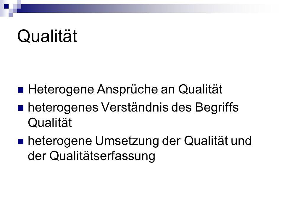 Qualität Heterogene Ansprüche an Qualität heterogenes Verständnis des Begriffs Qualität heterogene Umsetzung der Qualität und der Qualitätserfassung