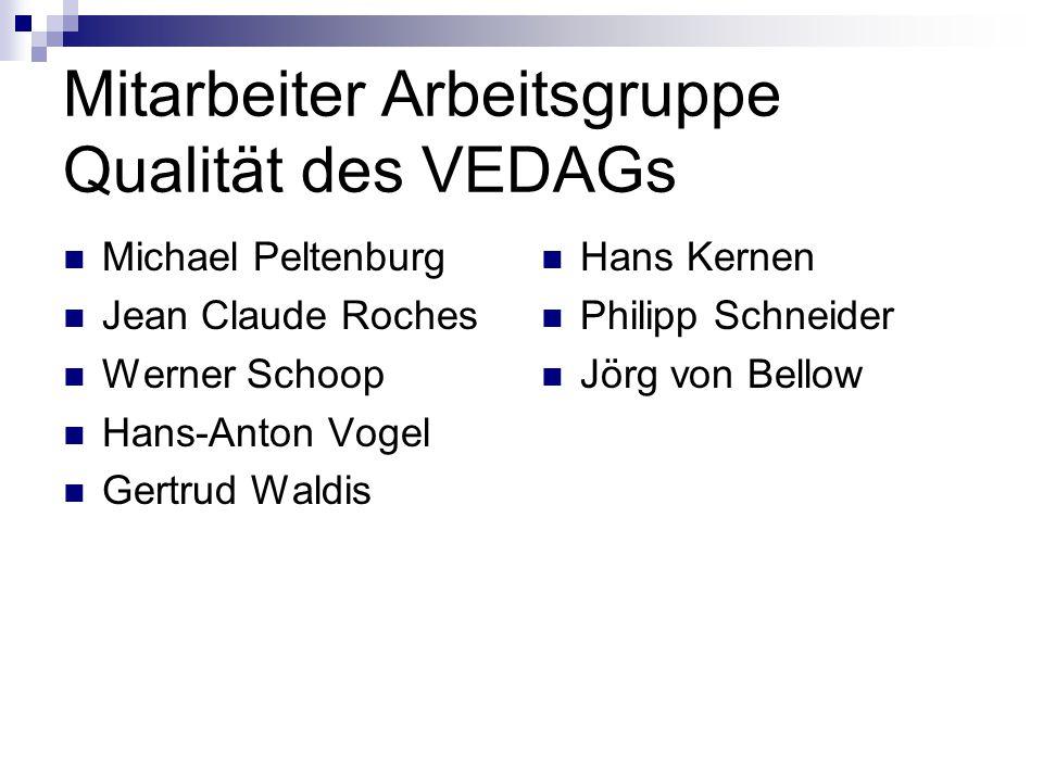 Mitarbeiter Arbeitsgruppe Qualität des VEDAGs Michael Peltenburg Jean Claude Roches Werner Schoop Hans-Anton Vogel Gertrud Waldis Hans Kernen Philipp