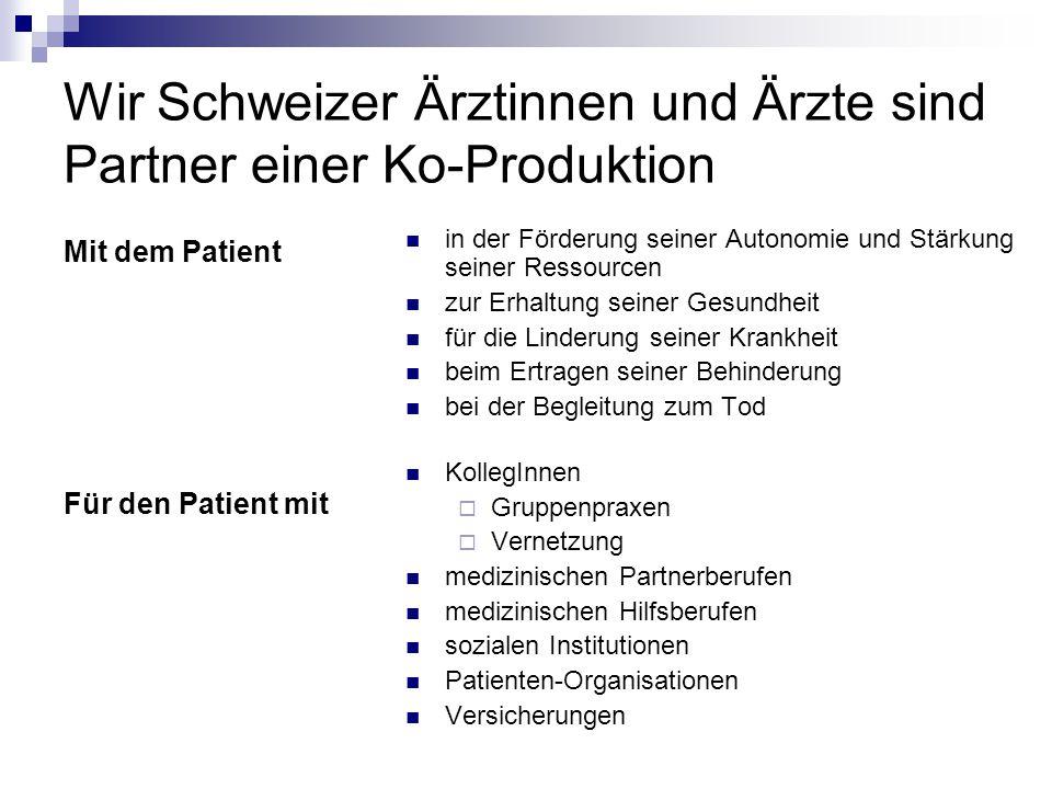 Wir Schweizer Ärztinnen und Ärzte sind Partner einer Ko-Produktion Mit dem Patient Für den Patient mit in der Förderung seiner Autonomie und Stärkung