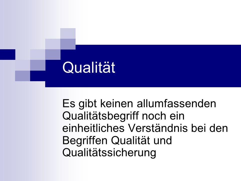 Qualität Es gibt keinen allumfassenden Qualitätsbegriff noch ein einheitliches Verständnis bei den Begriffen Qualität und Qualitätssicherung