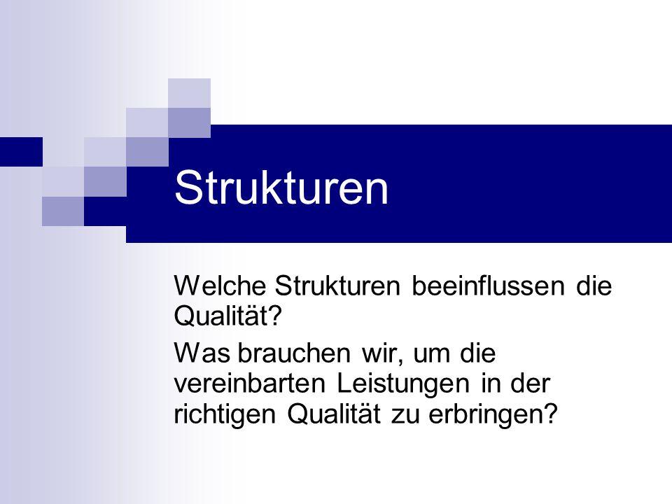 Strukturen Welche Strukturen beeinflussen die Qualität? Was brauchen wir, um die vereinbarten Leistungen in der richtigen Qualität zu erbringen?