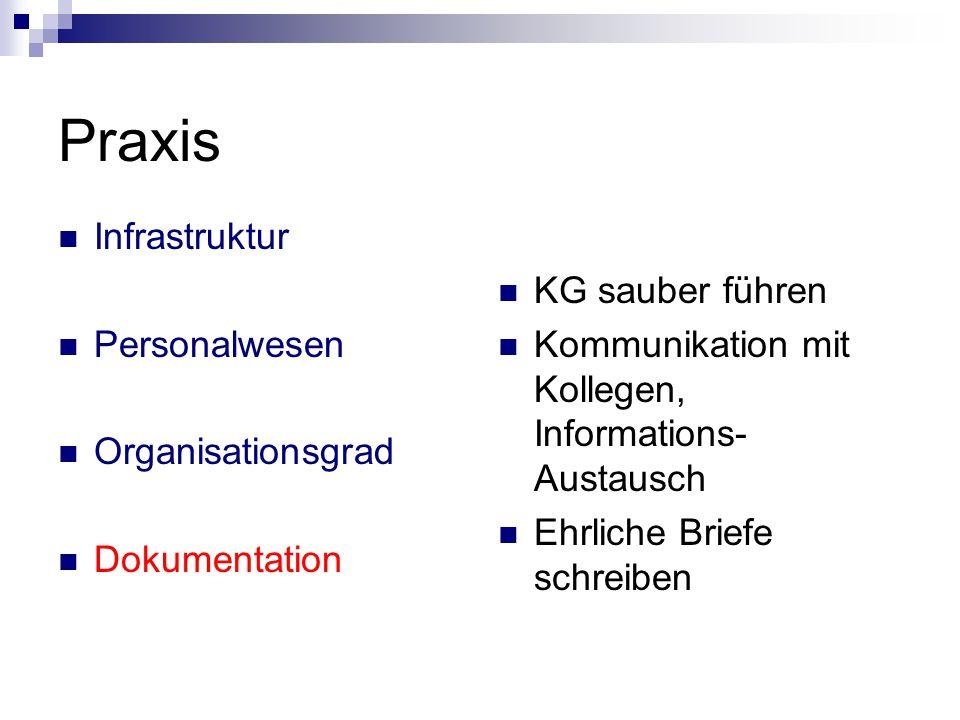 Praxis Infrastruktur Personalwesen Organisationsgrad Dokumentation KG sauber führen Kommunikation mit Kollegen, Informations- Austausch Ehrliche Brief