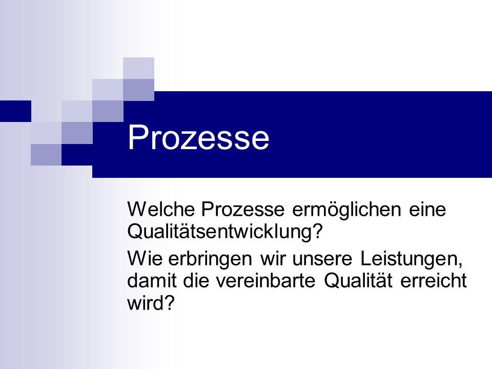 Prozesse Welche Prozesse ermöglichen eine Qualitätsentwicklung? Wie erbringen wir unsere Leistungen, damit die vereinbarte Qualität erreicht wird?