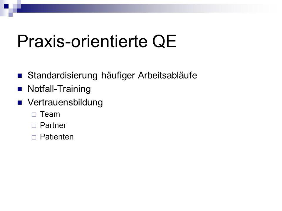 Praxis-orientierte QE Standardisierung häufiger Arbeitsabläufe Notfall-Training Vertrauensbildung  Team  Partner  Patienten