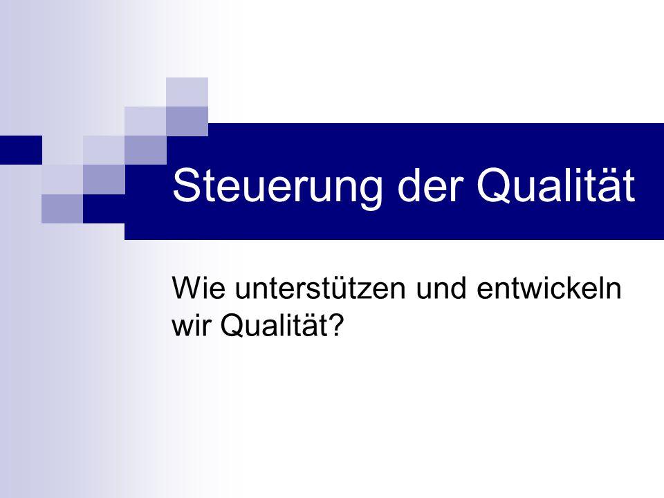 Steuerung der Qualität Wie unterstützen und entwickeln wir Qualität?