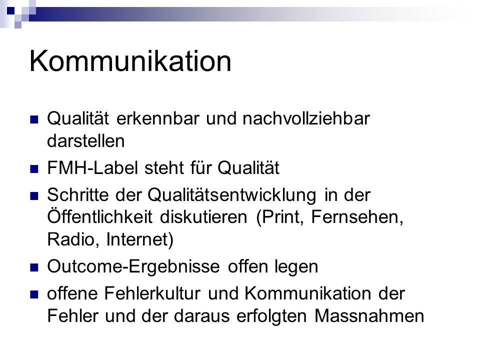 Kommunikation Qualität erkennbar und nachvollziehbar darstellen FMH-Label steht für Qualität Schritte der Qualitätsentwicklung in der Öffentlichkeit d