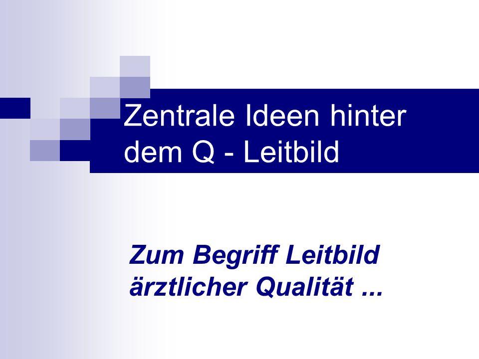 Zentrale Ideen hinter dem Q - Leitbild Zum Begriff Leitbild ärztlicher Qualität...
