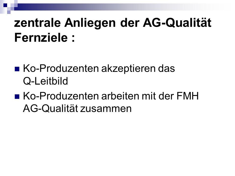 zentrale Anliegen der AG-Qualität Fernziele : Ko-Produzenten akzeptieren das Q-Leitbild Ko-Produzenten arbeiten mit der FMH AG-Qualität zusammen