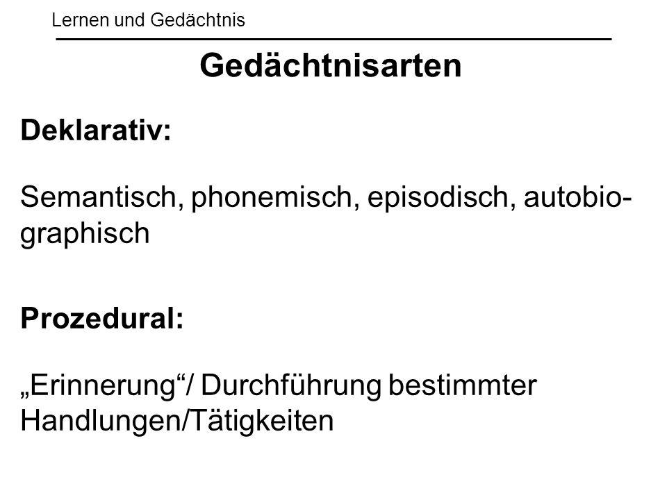 """Lernen und Gedächtnis Deklarativ: Semantisch, phonemisch, episodisch, autobio- graphisch Prozedural: """"Erinnerung""""/ Durchführung bestimmter Handlungen/"""