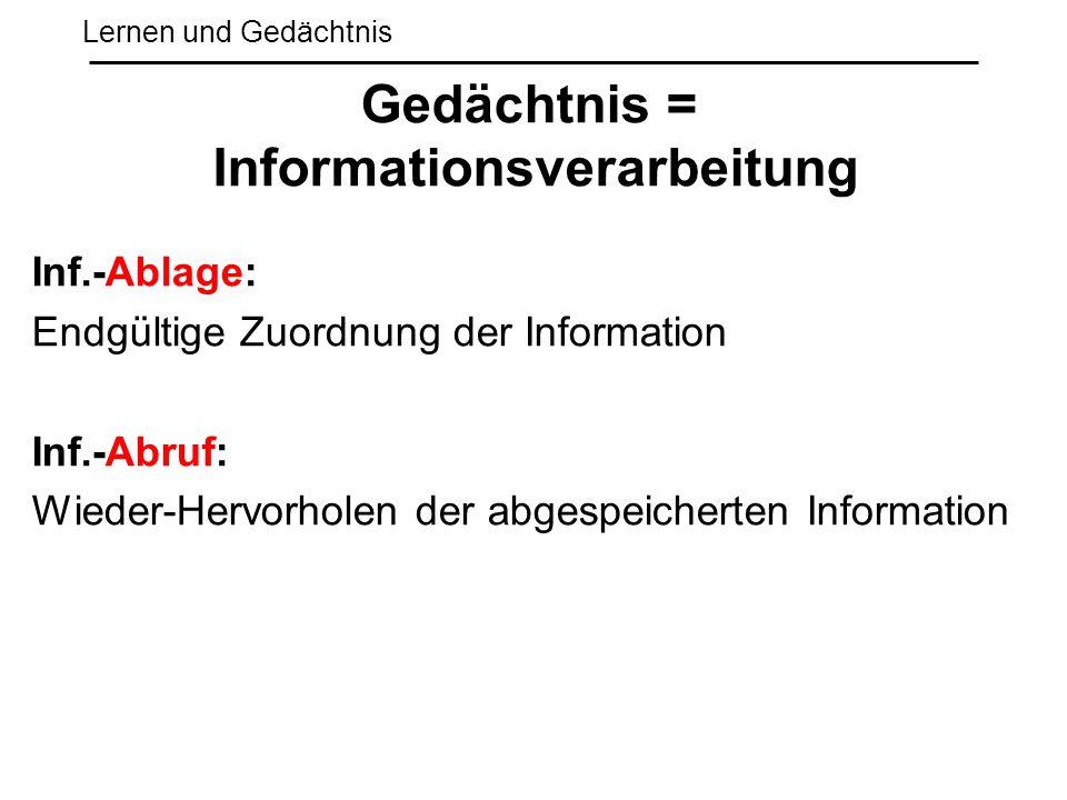 Lernen und Gedächtnis Inf.-Ablage: Endgültige Zuordnung der Information Inf.-Abruf: Wieder-Hervorholen der abgespeicherten Information Gedächtnis = In