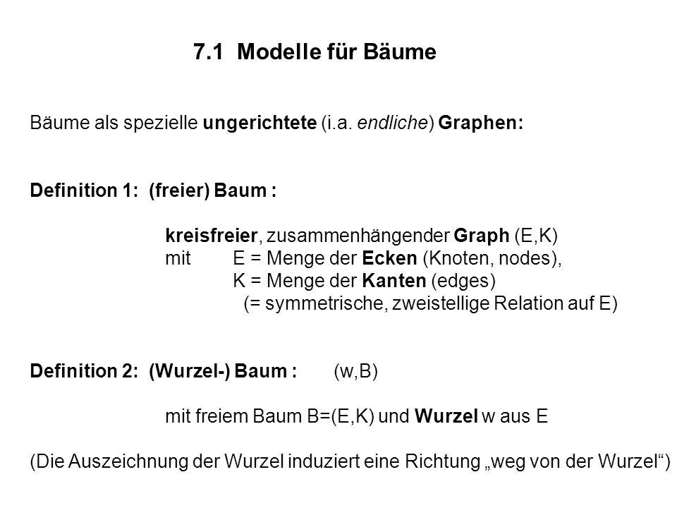 7.1 Modelle für Bäume Bäume als spezielle ungerichtete (i.a. endliche) Graphen: Definition 1: (freier) Baum : kreisfreier, zusammenhängender Graph (E,