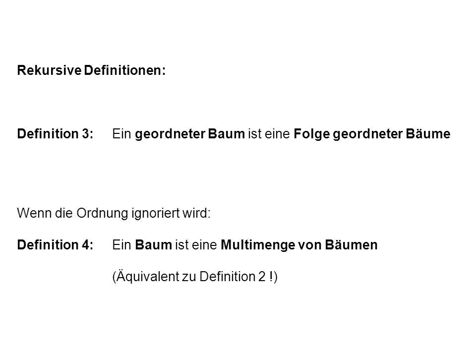 Rekursive Definitionen: Definition 3:Ein geordneter Baum ist eine Folge geordneter Bäume Wenn die Ordnung ignoriert wird: Definition 4:Ein Baum ist ei