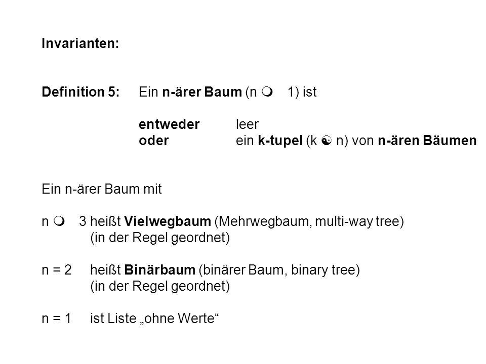 Invarianten: Definition 5:Ein n-ärer Baum (n m 1) ist entwederleer oderein k-tupel (k [ n) von n-ären Bäumen Ein n-ärer Baum mit n m 3heißt Vielwegbau