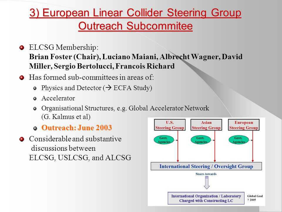 3) European Linear Collider Steering Group Outreach Subcommitee ELCSG Membership: Brian Foster (Chair), Luciano Maiani, Albrecht Wagner, David Miller, Sergio Bertolucci, Francois Richard Has formed sub-committees in areas of: Physics and Detector (  ECFA Study) Accelerator Organisational Structures, e.g.