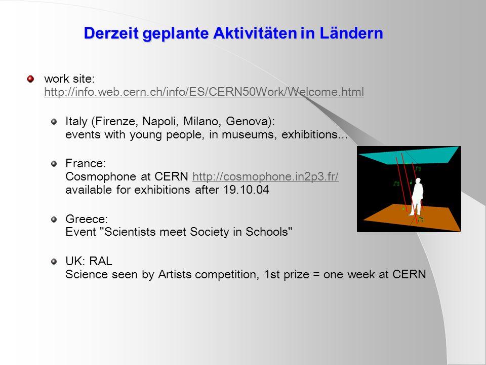 Derzeit geplante Aktivitäten in Ländern work site: http://info.web.cern.ch/info/ES/CERN50Work/Welcome.html http://info.web.cern.ch/info/ES/CERN50Work/Welcome.html Italy (Firenze, Napoli, Milano, Genova): events with young people, in museums, exhibitions...