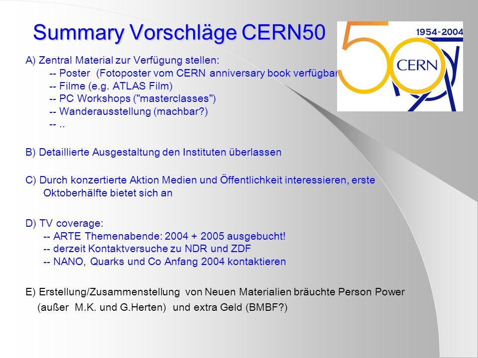 Summary Vorschläge CERN50 A) Zentral Material zur Verfügung stellen: -- Poster (Fotoposter vom CERN anniversary book verfügbar) -- Filme (e.g. ATLAS F