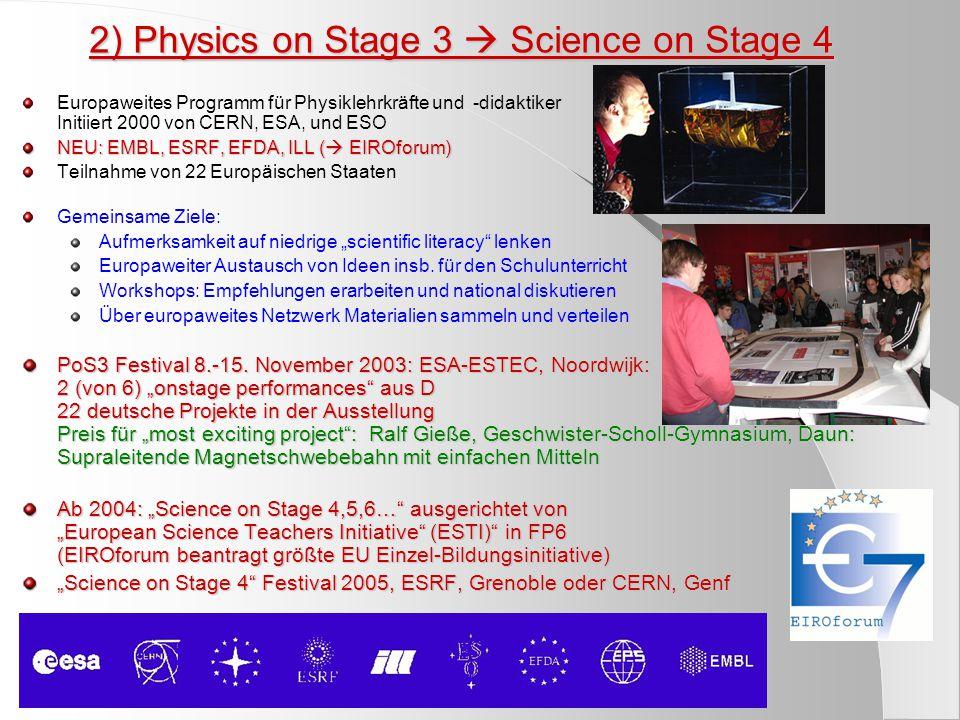 """2) Physics on Stage 3  Science on Stage 4 Europaweites Programm für Physiklehrkräfte und -didaktiker Initiiert 2000 von CERN, ESA, und ESO NEU: EMBL, ESRF, EFDA, ILL (  EIROforum) Teilnahme von 22 Europäischen Staaten Gemeinsame Ziele: Aufmerksamkeit auf niedrige """"scientific literacy lenken Europaweiter Austausch von Ideen insb."""