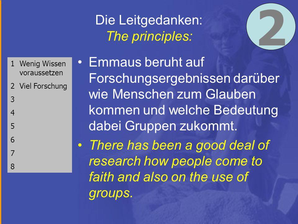 Die Leitgedanken: The principles: Emmaus beruht auf Forschungsergebnissen darüber wie Menschen zum Glauben kommen und welche Bedeutung dabei Gruppen zukommt.