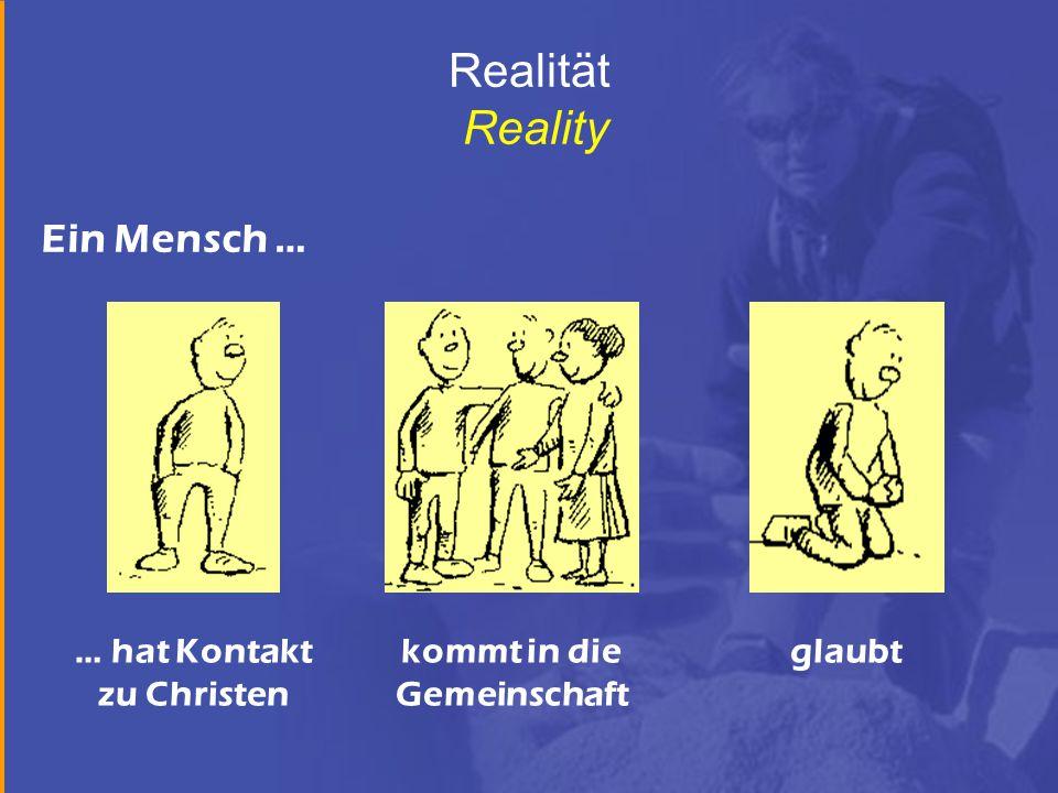 Realität Reality … hat Kontakt zu Christen kommt in die Gemeinschaft glaubt Ein Mensch …
