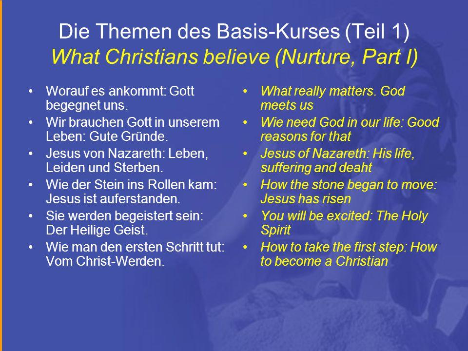 Die Themen des Basis-Kurses (Teil 1) What Christians believe (Nurture, Part I) Worauf es ankommt: Gott begegnet uns.