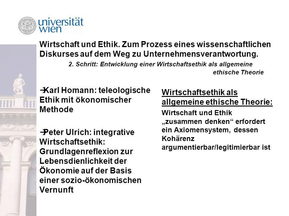 Wirtschaft und Ethik.