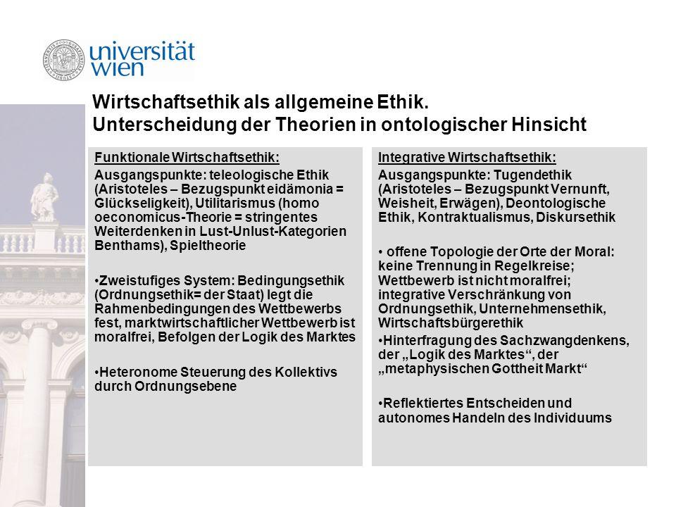 Wirtschaftsethik als allgemeine Ethik.