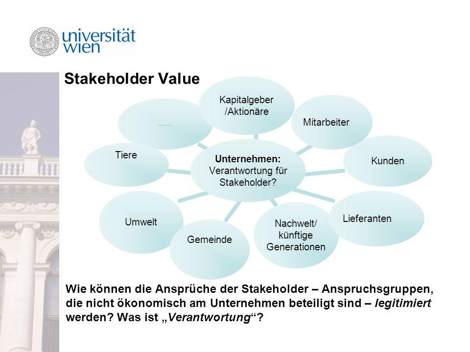 Stakeholder Value Unternehmen: Verantwortung für Stakeholder.