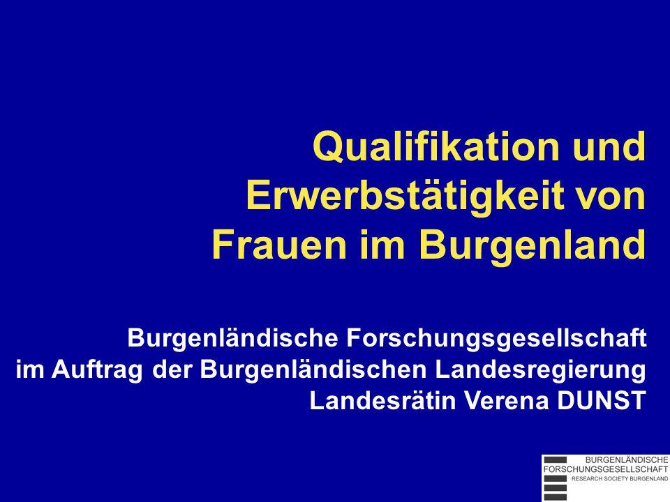 Qualifikation und Erwerbstätigkeit von Frauen im Burgenland Burgenländische Forschungsgesellschaft im Auftrag der Burgenländischen Landesregierung Landesrätin Verena DUNST