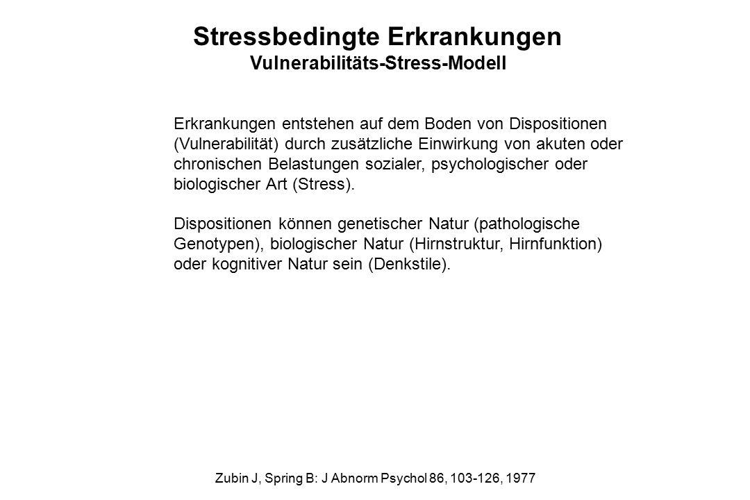 Stressbedingte Erkrankungen Vulnerabilitäts-Stress-Modell Erkrankungen entstehen auf dem Boden von Dispositionen (Vulnerabilität) durch zusätzliche Ei