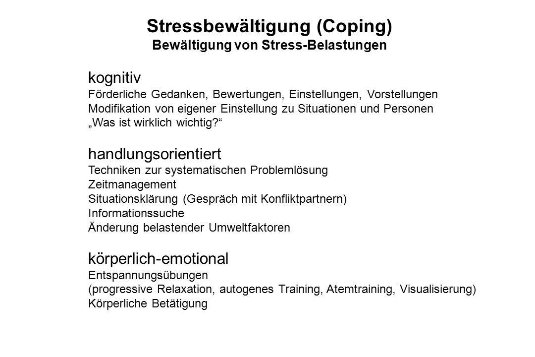 Stressbewältigung (Coping) Bewältigung von Stress-Belastungen kognitiv Förderliche Gedanken, Bewertungen, Einstellungen, Vorstellungen Modifikation vo