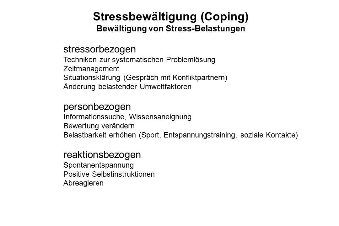 Stressbewältigung (Coping) Bewältigung von Stress-Belastungen stressorbezogen Techniken zur systematischen Problemlösung Zeitmanagement Situationsklär